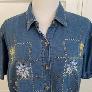 Bobbie Brooks Embroidered Denim Button Down Shirt
